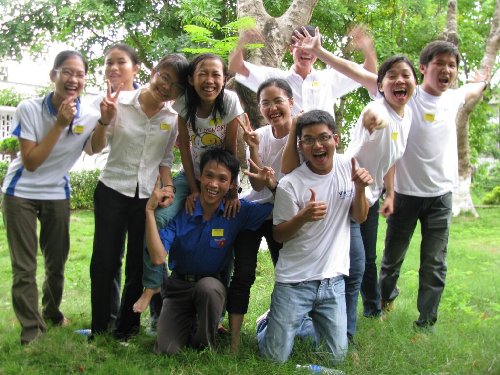 Group of students cheering